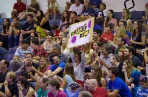 Susan Sarandon roots for Grace Riot of the Cape Fear Roller Girls.